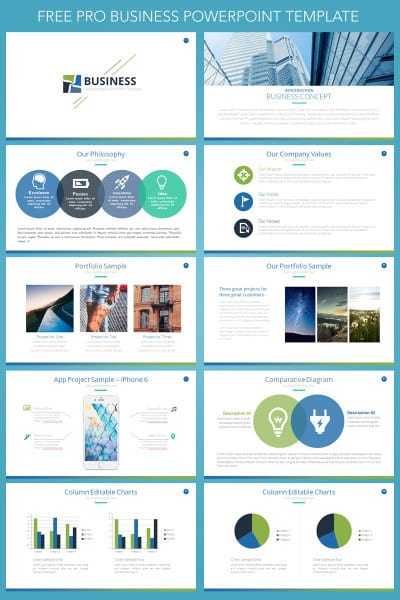 free business presentation powerpoint template  hooed, Powerpoint